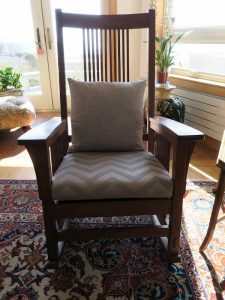 Stickley Rocking Chair | Upholstered in a JF Fabrics High Performance Fabric | Upholstered by Cape Cod Upholstery Shop | Located in South Dennis, MA