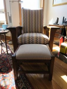 Stickley Chair & Ottoman | Chair upholstered in a United Fabrics Sunbrella exclusive | Ottoman upholstered in a JF Fabrics high performance fabric | Upholstered by Cape Cod Upholstery Shop | Located in South Dennis, MA