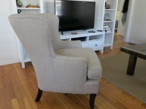 Wing Chair Side View | Upholstered in a JF Fabrics High Performance Fabric | Upholstered by Cape Cod Upholstery Shop | Located in South Dennis, MA