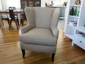 Favorite Provincetown Wing Chair | Upholstered in a JF Fabrics High Performance Fabric | Upholstered by Cape Cod Upholstery Shop | Located in South Dennis, MA