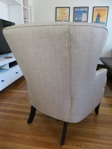 Wing Chair Back View | Upholstered in a JF Fabrics High Performance Fabric | Upholstered by Cape Cod Upholstery Shop | Located in South Dennis, MA