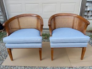 Cane Back Barrel Chairs | Upholstered in a JF Fabrics High Performance Fabric | Upholstered by Cape Cod Upholstery Shop | Located in South Dennis, MA