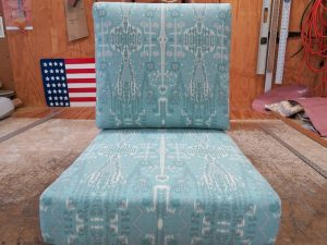 Seat and back cushions for a chair | Covers are made with an indoor-outdoor fabric print | Upholstered by Cape Cod Upholstery Shop | Located in South Dennis, MA