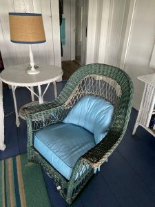 Wicker rocker with Sunbrella Canvas Cushions | Upholstered by Cape Cod Upholstery Shop | Located in South Dennis, MA