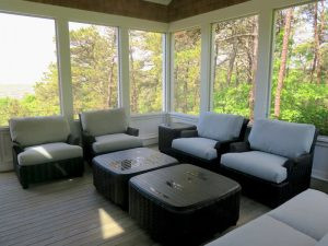 WhiteCraft Aruba Outdoor Wicker Set | Upholstered in a Sunbrella Contract Fabric | Upholstered by Cape Cod Upholstery Shop | Located in South Dennis, MA