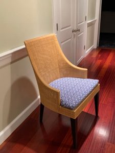 Wicker Back Chair with Removable Seat Cushion | Upholstered in a Cotton Print Fabric | Upholstered by Cape Cod Upholstery Shop | Located in South Dennis, MA