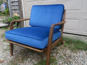 Mid Century Modern Teak Chair | Upholstered in a Greenhouse Fabrics Velvet Fabric | Upholstered by Cape Cod Upholstery Shop | Located in South Dennis, MA