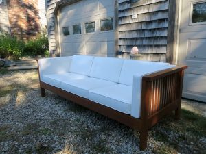 Charles Webb Sofa | Upholstered in a Sunbrella Canvas Natural | Upholstered by Cape Cod Upholstery Shop | Located in South Dennis, MA 02660
