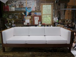 Charles Webb Sofa | Ready for Delivery | Upholstered in a Sunbrella Canvas Natural | Upholstered by Cape Cod Upholstery Shop | Located in South Dennis, MA 02660