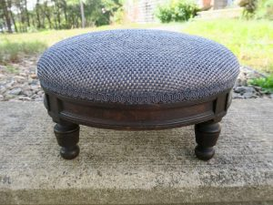 Antique Foot Stool | Upholstered in a JF Fabrics Performance Fabric with braided gimp trim | Upholstered by Cape Cod Upholstery Shop | Located in South Dennis, MA 02660