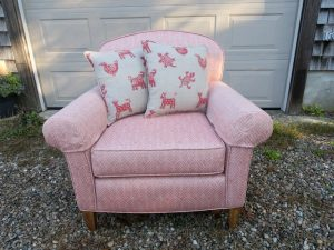 Upholstered Arm Chair with embroider Pillows | Upholstered in a Jane Shelton Fabic Willingham Red | Upholstered by Cape Cod Upholstery Shop | Located in South Dennis, MA 02660
