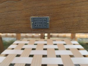 """Design Within Reach Teak Furniture Label 
