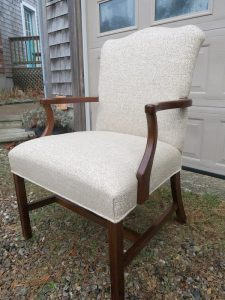 Martha Washington Style Chair side view | Upholstered in a Greenhouse Fabrics tweed | Upholstered by Cape Cod Upholstery Shop | Located in South Dennis, MA 02660