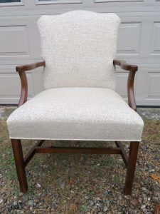 Martha Washington Style Chair | Upholstered in a Greenhouse Fabrics tweed | Upholstered by Cape Cod Upholstery Shop | Located in South Dennis, MA 02660