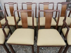 Walnut Dining Chairs | Upholstered in a Sunbrella Dupione-Bamboo fabric | Upholstered by Cape Cod Upholstery Shop | Located in South Dennis, MA 02660