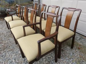 Set of 8 Walnut Dining Chairs | Upholstered in a Sunbrella Dupione-Bamboo fabric | Upholstered by Cape Cod Upholstery Shop | Located in South Dennis, MA 02660