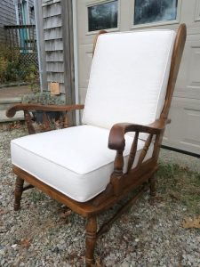 Hartshorn 3 Season High Back Maple Chair | Upholstered in a Sunbrella Action-Linen Fabric | Upholstered by Cape Cod Upholstery Shop | Located in South Dennis, MA 02660
