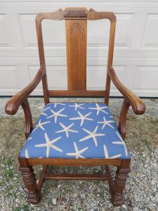 Sturdy Captains Chair | Upholstered in a Starfish Woven Fabric | Upholstered by Cape Cod Upholstery Shop | Located in South Dennis, MA 02660