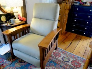 Stickley Style Recliner by Ethan Allen | Upholstered in an ultra suede fabric | Upholstered by Cape Cod Upholstery Shop | Located in South Dennis, MA 02660