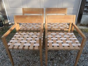 """Set of 4 Outdoor Teak Manufactured by Design Within Reach 