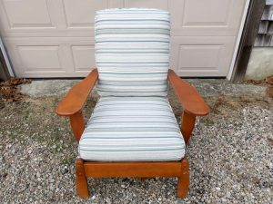 Maple Chair with loose seat and back cushions | Upholstered in a Greenhouse Fabrics Crypton Stripe | Upholstered by Cape Cod Upholstery Shop | Located in South Dennis, MA 02660