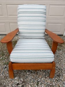 Cottage Maple Chair with loose seat and back cushions | Upholstered in a Greenhouse Fabrics Crypton Stripe | Upholstered by Cape Cod Upholstery Shop | Located in South Dennis, MA 02660