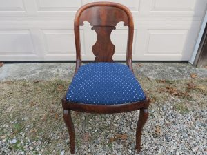 Antique Desk Chair | Upholstered in a Greenhouse Fabric | Upholstered by Cape Cod Upholstery Shop | Located in South Dennis, MA 02660