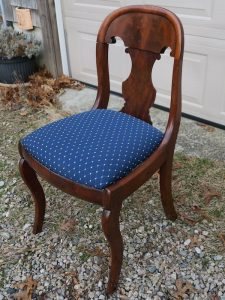Antique Desk Chair Side View | Upholstered in a Greenhouse Fabric | Upholstered by Cape Cod Upholstery Shop | Located in South Dennis, MA 02660
