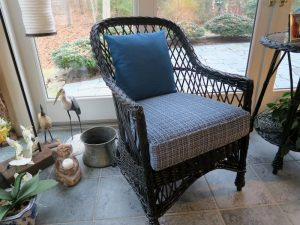 Wicker Chair Cushions | Sunbrella Throw Pillow and Greenhouse Fabrics Seat Cushion | Upholstered by Cape Cod Upholstery Shop | Located in South Dennis, MA 02660