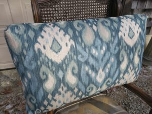 Back Pillow upholstered in a heavy weight linen print | Upholstered by Cape Cod Upholstery Shop | Located in South Dennis, MA 02660