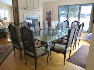 Set of 10 Victorian cane back dining chairs | Upholstered in a reclaimed vintage South Western US design fabric | Upholstered by Cape Cod Upholstery Shop | Located in South Dennis, MA 02660