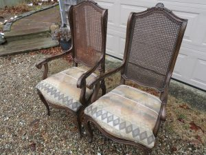 Two of ten Victorian cane back dining chairs | Upholstered in a reclaimed vintage South Western US design fabric | Upholstered by Cape Cod Upholstery Shop | Located in South Dennis, MA 02660