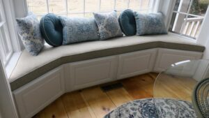 One piece Window Seat Cushion to fit bay window | Upholstered in a Revolution Base Fabric Upholstered by Cape Cod Upholstery Shop | Located in South Dennis, MA 02660