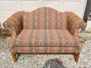 Camel Back Loveseat | Upholstered in a United Fabrics South Western style fabric | Upholstered by Cape Cod Upholstery Shop | Located in South Dennis, MA 02660