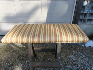 Piano Bench Top | Upholstered in a vintage striped damask fabric | Upholstered by Cape Cod Upholstery Shop | Located in South Dennis, MA 02660