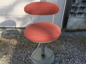Bar Stool upholstered in a United Fabrics Crypton fabric | Upholstered by Cape Cod Upholstery Shop | Located in South Dennis, MA 02660