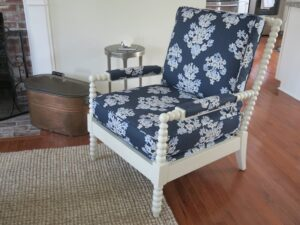 Walter SMITHE Chair | Frame painted in white Upholstered in an indoor-outdoor linen print fabric | Upholstered by Cape Cod Upholstery Shop | Located in South Dennis, MA 02660
