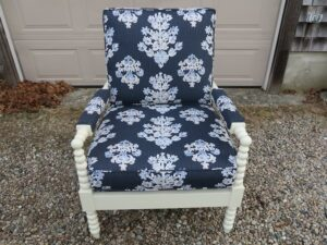 Walter SMITHE Chair | Upholstered in an indoor-outdoor linen print fabric | Upholstered by Cape Cod Upholstery Shop | Located in South Dennis, MA 02660