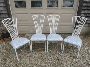 Metal Dining Chairs with removable Seats | Upholstered in an exclusive Thibaut Fabrics Sunbrella Fabric | Upholstered by Cape Cod Upholstery Shop | Located in South Dennis, MA 02660