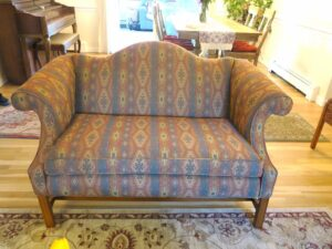 Camel Back Loveseat 4 | Upholstered in a United Fabrics South Western style fabric | Upholstered by Cape Cod Upholstery Shop | Located in South Dennis, MA 02660