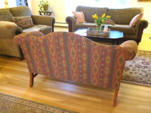 Camel Back Loveseat 3 | Upholstered in a United Fabrics South Western style fabric | Upholstered by Cape Cod Upholstery Shop | Located in South Dennis, MA 02660