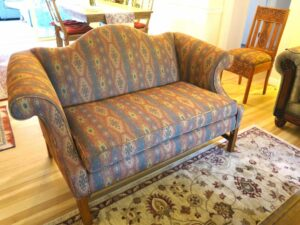 Camel Back Loveseat 2 | Upholstered in a United Fabrics South Western style fabric | Upholstered by Cape Cod Upholstery Shop | Located in South Dennis, MA 02660