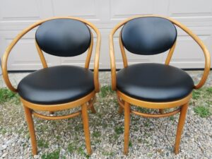 Rattan Chairs | Upholstered in black vinyl | Upholstered by Cape Cod Upholstery Shop | Located in South Dennis, MA 02660
