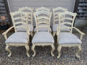 Ladder Back dining room chairs with Queen Ann legs | Upholstered in a United Fabrics Crypton | Upholstered by Cape Cod Upholstery Shop | Located in South Dennis, MA 02660