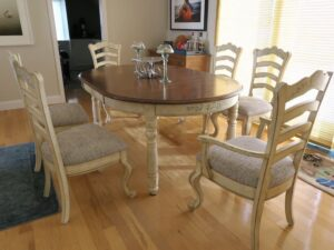 Set of six ladder back style Kitchen Chairs | Upholstered in a United Fabrics Crypton | Upholstered by Cape Cod Upholstery Shop | Located in South Dennis, MA 02660