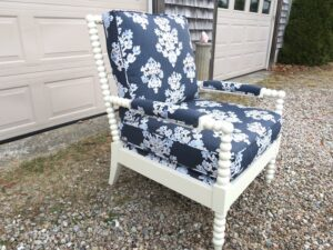 Walter SMITHE Chair 3 | Ready for delivery | Upholstered in an indoor-outdoor linen print fabric | Upholstered by Cape Cod Upholstery Shop | Located in South Dennis, MA 02660
