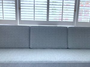 """Close-Up view of Built-in bench seating 