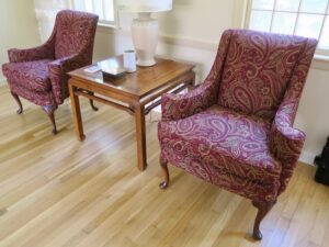 Small Queen Ann Style Matching Wing Chairs in the Customers Home   Upholstered in a United Fabric Crypton Venezia-Merlot   Upholstered by Cape Cod Upholstery Shop   Located in South Dennis, MA 02660
