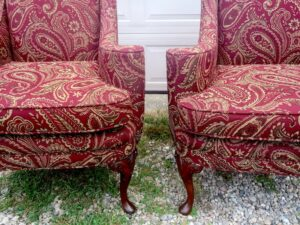 Small Queen Ann Style Matching Wing Chairs in tclose up view   Upholstered in a United Fabric Crypton Venezia-Merlot   Upholstered by Cape Cod Upholstery Shop   Located in South Dennis, MA 02660