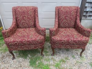 Small Queen Ann Style Matching Wing Chairs ready for delivery   Upholstered in a United Fabric Crypton Venezia-Merlot   Upholstered by Cape Cod Upholstery Shop   Located in South Dennis, MA 02660